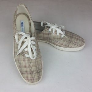 Keds Canvas Sneakers Tan Red Black Plaid 8